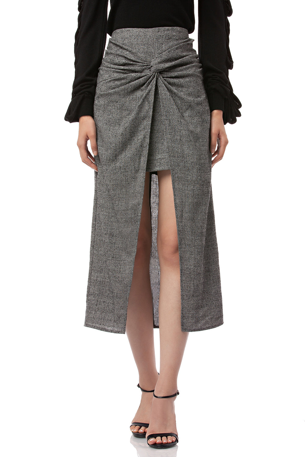 Zola Woven Plaid Twisted Skirt in Grey