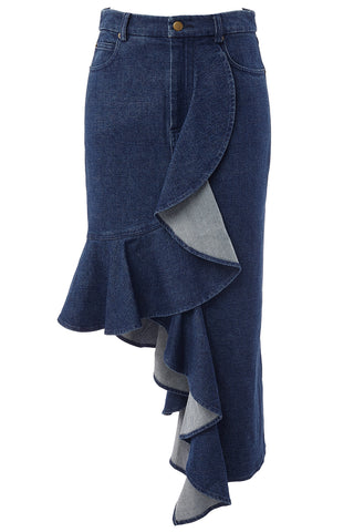 Kiara Asymmetrical Ruffle Skirt in Blue