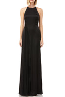 Erika Halter Pleated Chiffon Gown in Black thumbnail