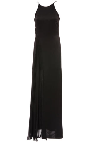 Erika Halter Pleated Chiffon Gown in Black