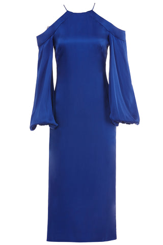 Francine Silk Charmeuse Halter Dress in Royal Blue