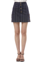 Becca Pinstripe Printed Cotton Skirt in Navy thumbnail