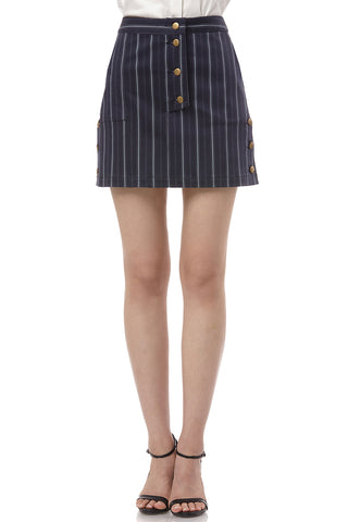 Becca Pinstripe Printed Cotton Skirt in Navy