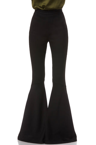 Heather Crepe Flare Pant in Black