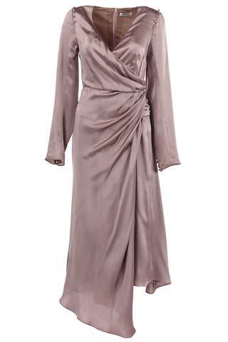 Iris Silk Charmeuse Ruched Dress in Dusty Rose