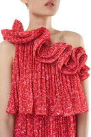 Carole Pleated One-Shoulder Dress in Red thumbnail