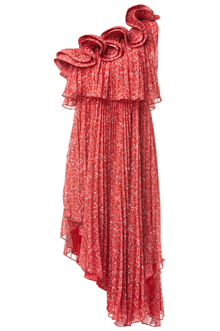 Carole Pleated One-Shoulder Dress in Red