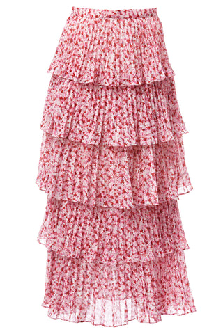 Paisley Pleated Skirt in Pink