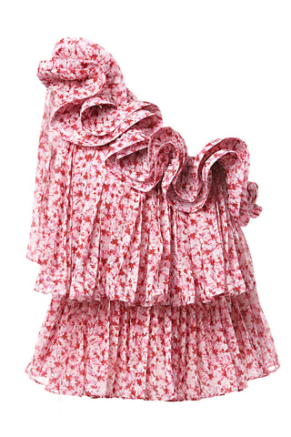 Portia Pleated One-Shoulder Top in Pink