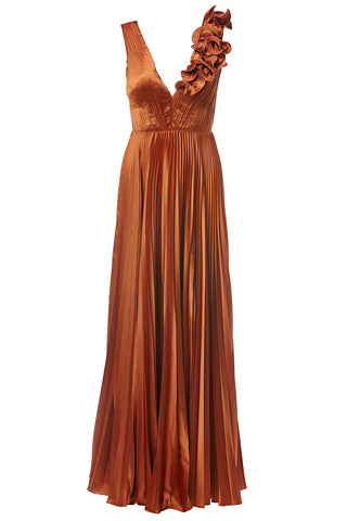 Aviva V-Neck Pleated Gown Copper