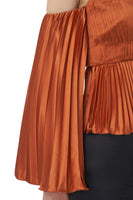 Kris Long Sleeve Pleated Top in Copper thumbnail