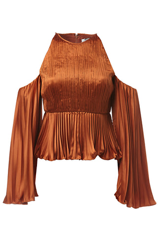 Kris Long Sleeve Pleated Top in Copper
