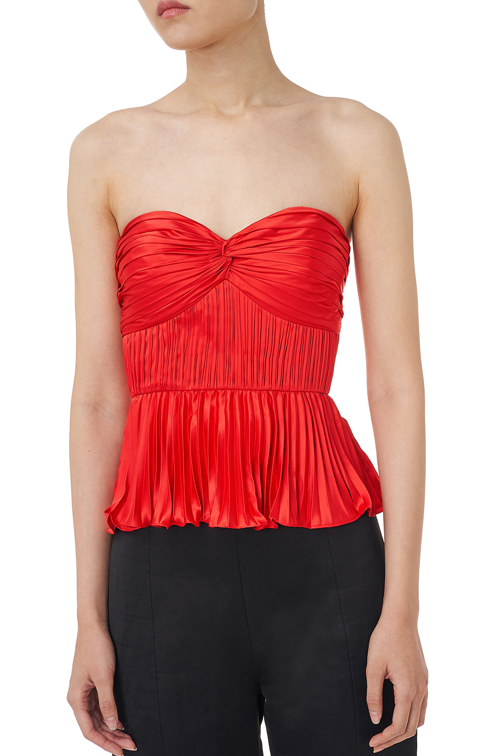 Cash Pleated Satin Peplum Top in Red
