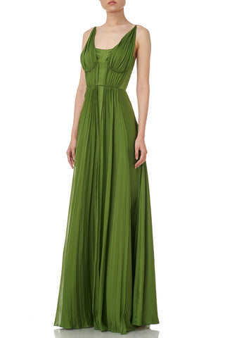 Adele Gown Dress in Grass Green