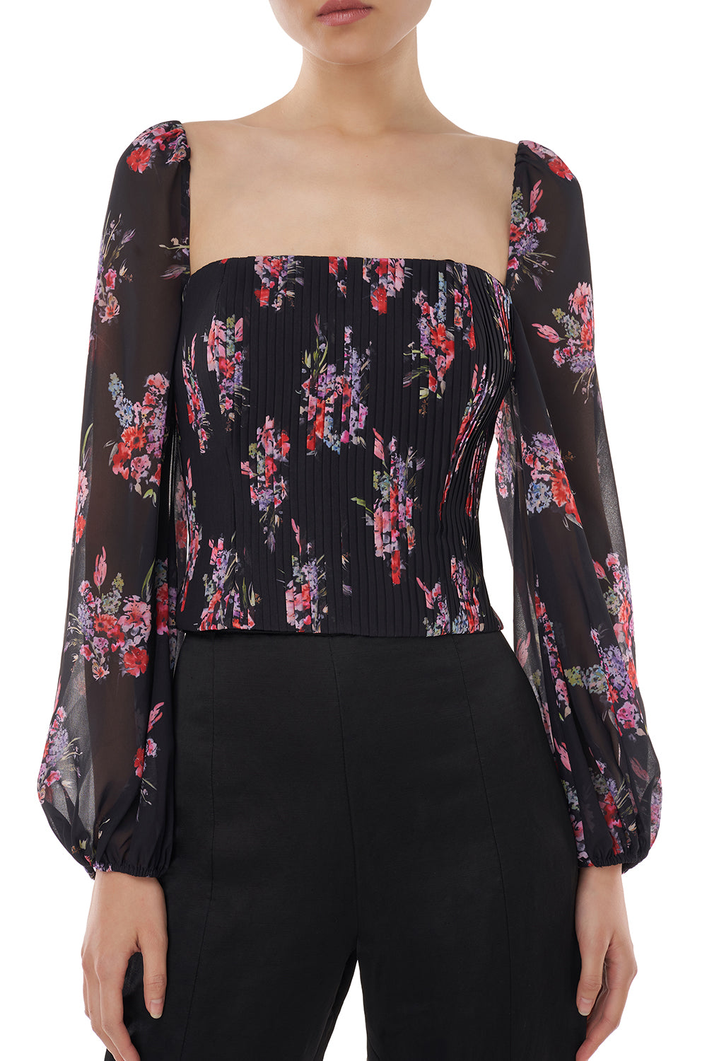 Beverly Top in Black Floral