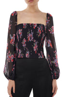 Beverly Top in Black Floral thumbnail