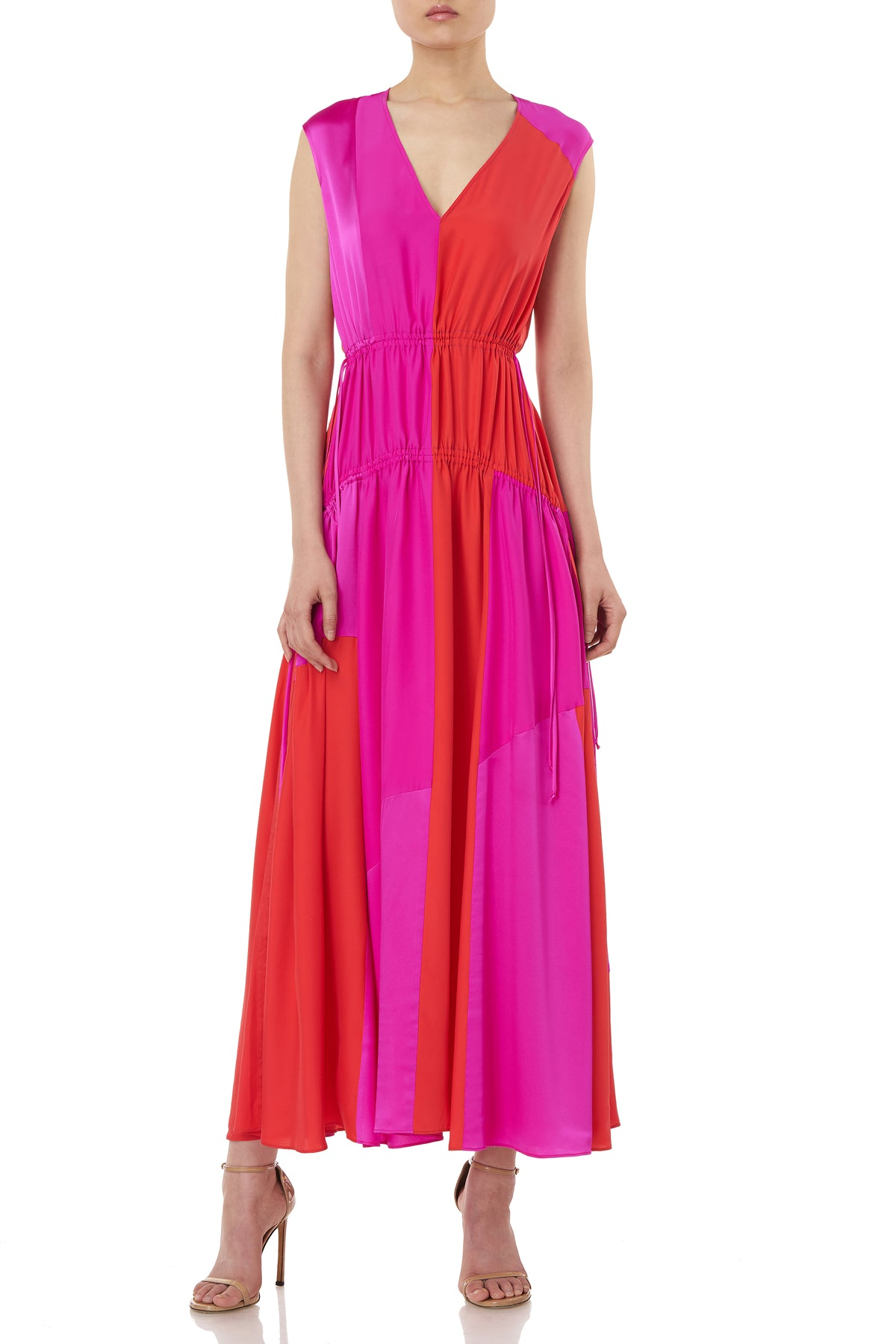 Lotta Dress in Fuschia & Poppy Red