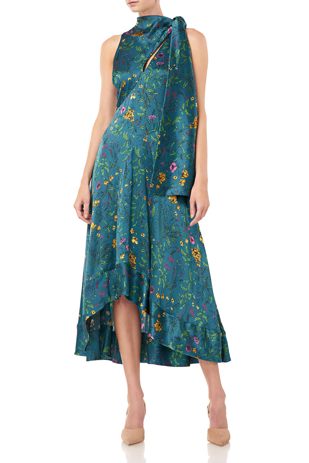 Georgia Dress in Teal Multi Wildflowers