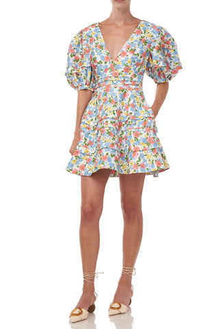 Avian Dress in White Anemone Floral