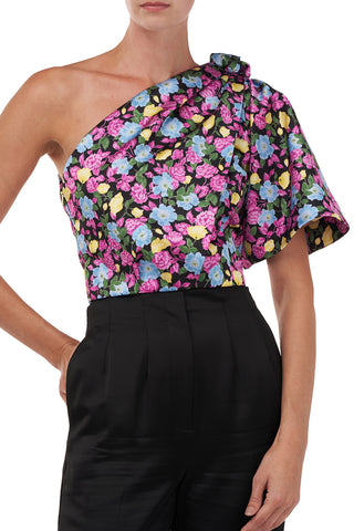 Anastasia Top in Black Anemone Floral