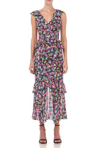Evita Dress in Black Anemone Floral