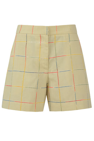 Pastel Olive Checkered Shorts