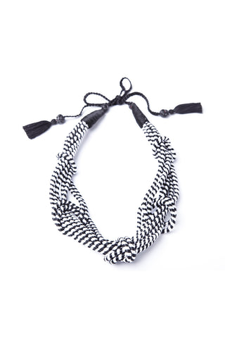 5 Knot Necklace in Black & White