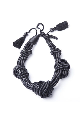5 Knot Necklace in Black Leather