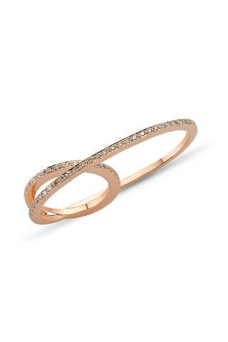 Thick Pink Gold Double Ring with White Diamonds