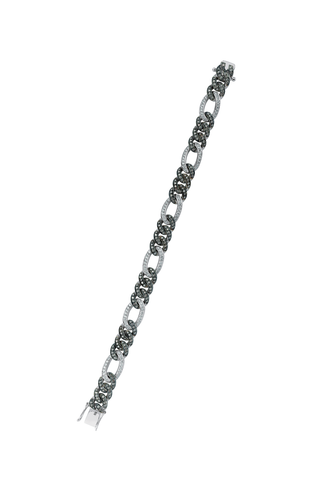 14K Black Gold Chain Bracelet with White & Champagne Diamonds
