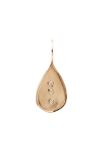 Rose Gold with Triple Diamonds Teardrop Charm
