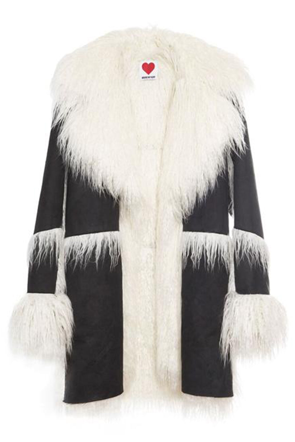 Vegan Shearling Coat in Charcoal & White
