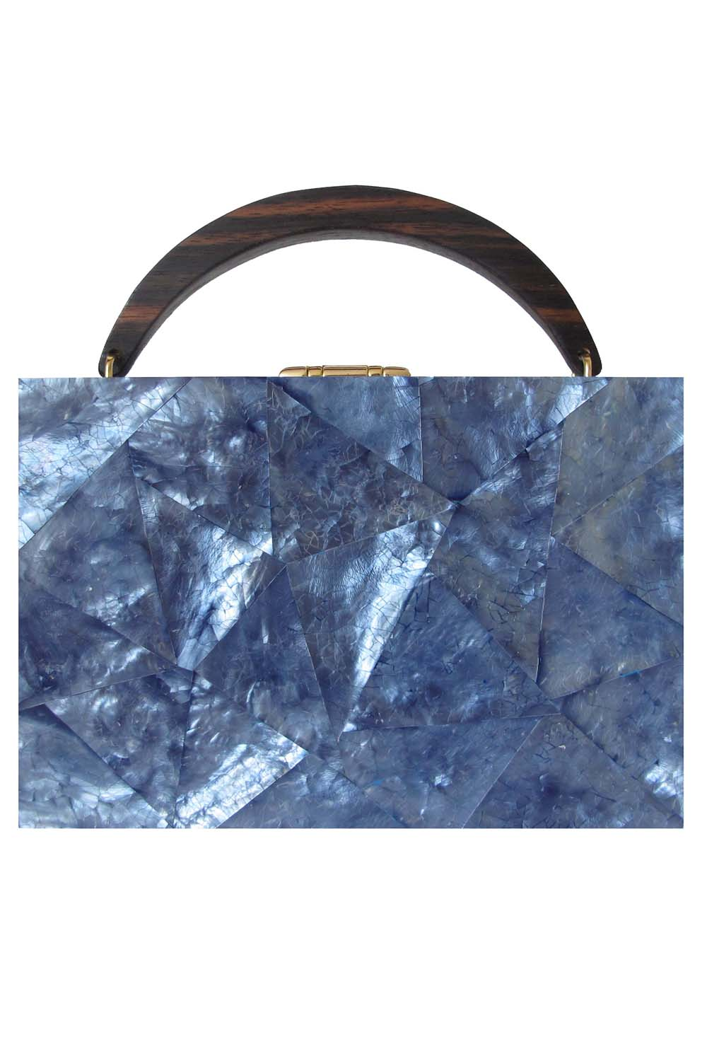Lunch Box Clutch in Blue Mother of Pearl