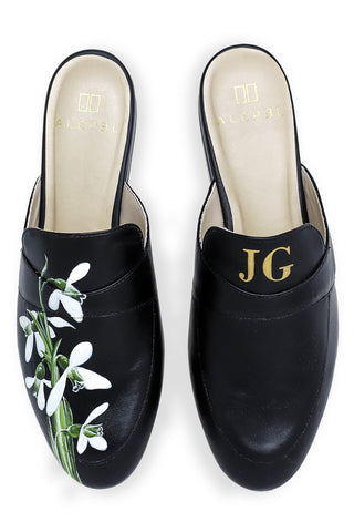 Snowdrops Monogram Mule in Black