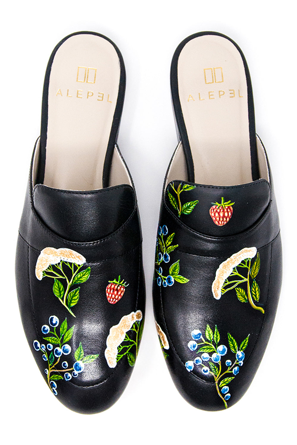 Black Mule with Handpainted Berries