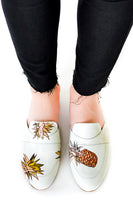 White Mule with Handpainted Pinapples thumbnail