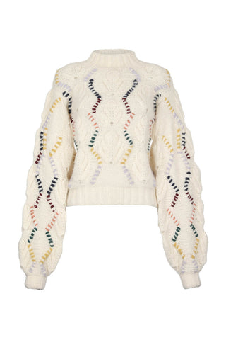 Kiwi chunky sweater in ivory multicolor