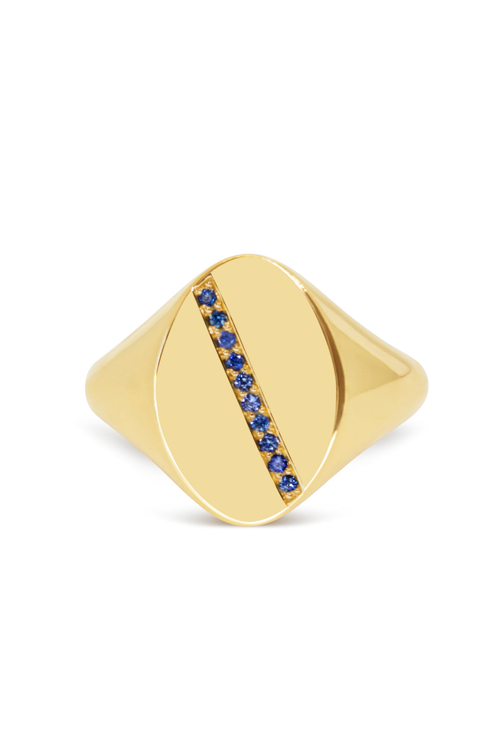 Diagonal Stripe Signet Ring with Blue Sapphires