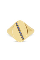Diagonal Stripe Signet Ring with Blue Sapphires thumbnail