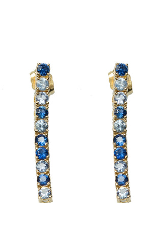 Ping Pong Drop Earrings with 10 Blue Sapphires