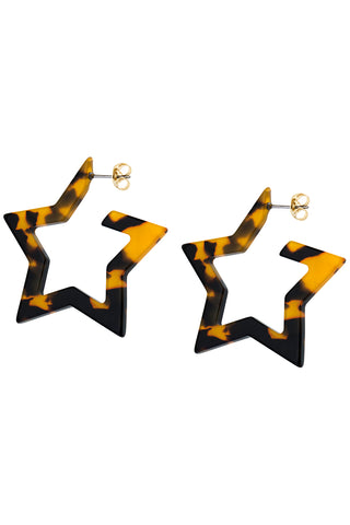 Tortoise Shell Star Hoop Earrings