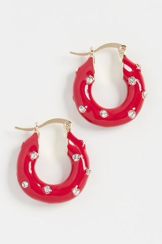 Alice Hoop Earrings in Red