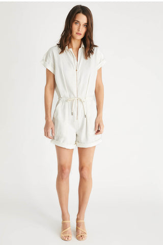 Amie Tie Waist Romper in Natural