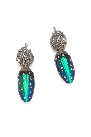 Animal Earrings with Detachable Scarab Wings