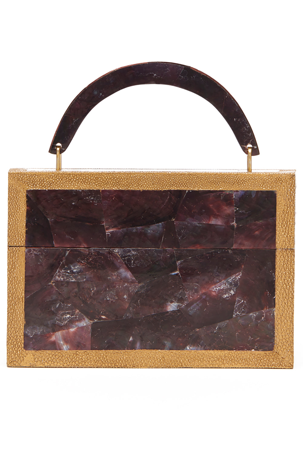 Arista Clutch in Burgundy Shell & Shagreen Trim