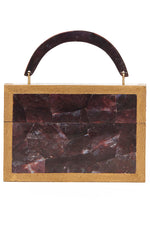 Arista Clutch in Burgundy Shell & Shagreen Trim thumbnail