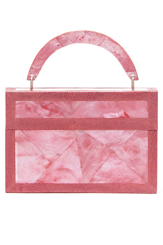 Arista Clutch in Pink Mother of Pearl & Shagreen Trim