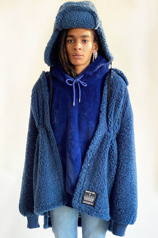100% Recycled Shearling Anorak - French Blue