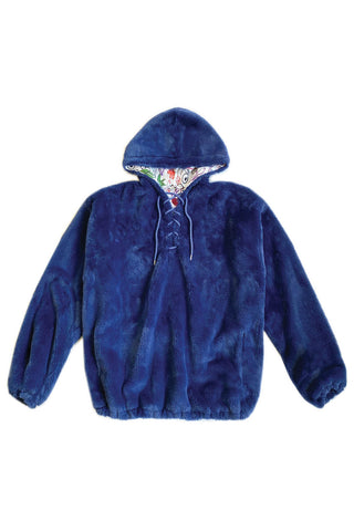 100% Recycled Teddy Lace-up Hoodie - Marine Blue