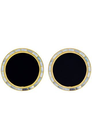 Brujo Orbit Earrings in Natural Onyx & Mother of Pearl